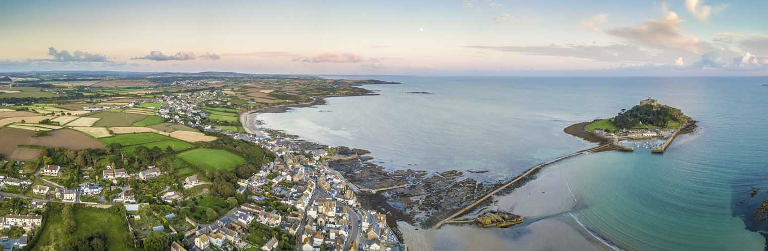 [Marazion Aerial Panorama with St Michaels Mount]