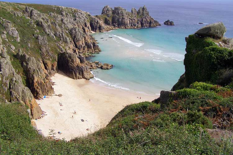 [Porthcurno - Pedn Vounder Beach and the Logan Rock]