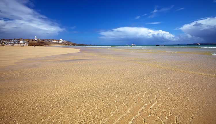 [St Ives, Cornwall - Harbour Beach at Low Tide]