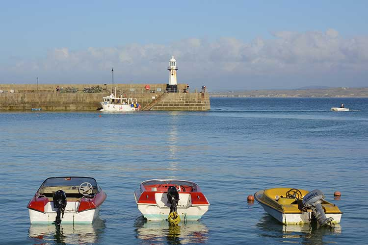 [St Ives - Harbour and Lighthouse with Boats]